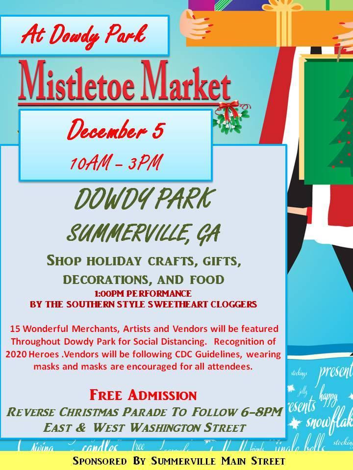 """Summerville Ga Christmas Parade 2020 Summerville Main Street Announces """"Mistletoe Market""""   AM 1180 Radio"""